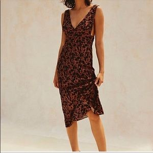 NEW Free People Ohh La La Brown Floral Midi Dress